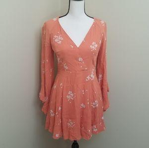 Free People Orange Floral Dress Size 4